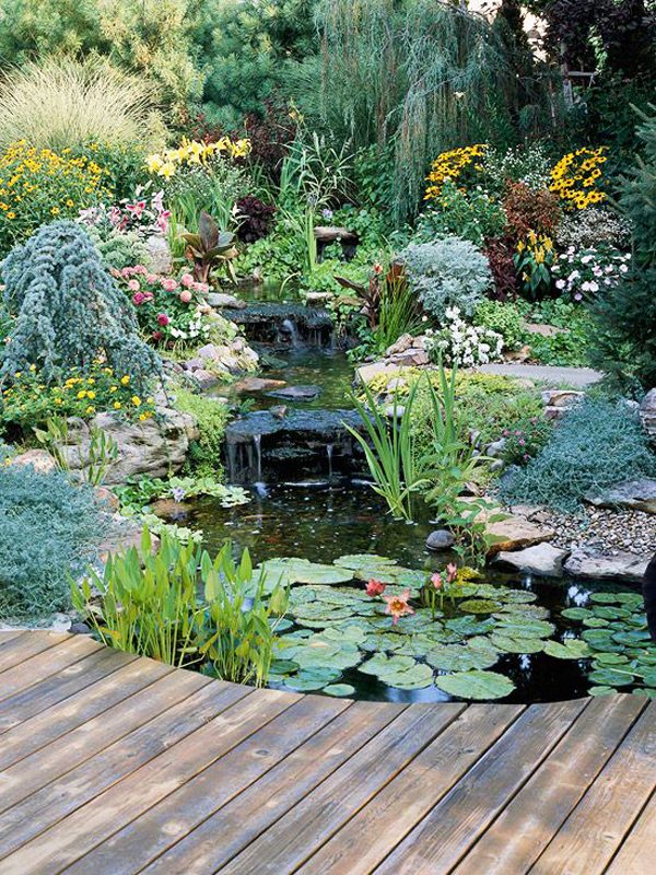 Natural backyard pond garden ideas for Garden sectioning ideas
