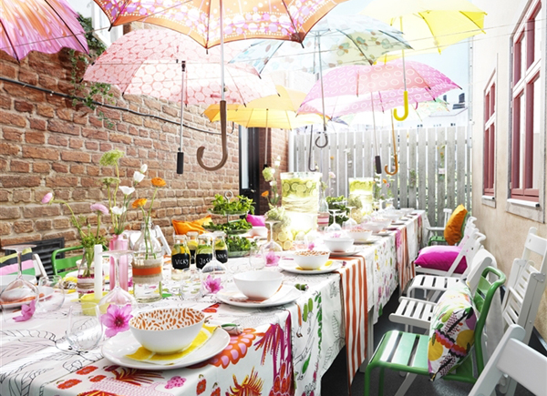 gallery of summer garden party with umbrella decorations