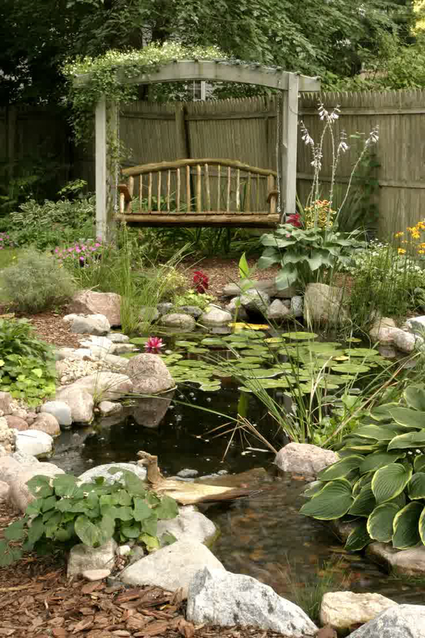 Vintage backyard pond garden ideas for Design of pond garden