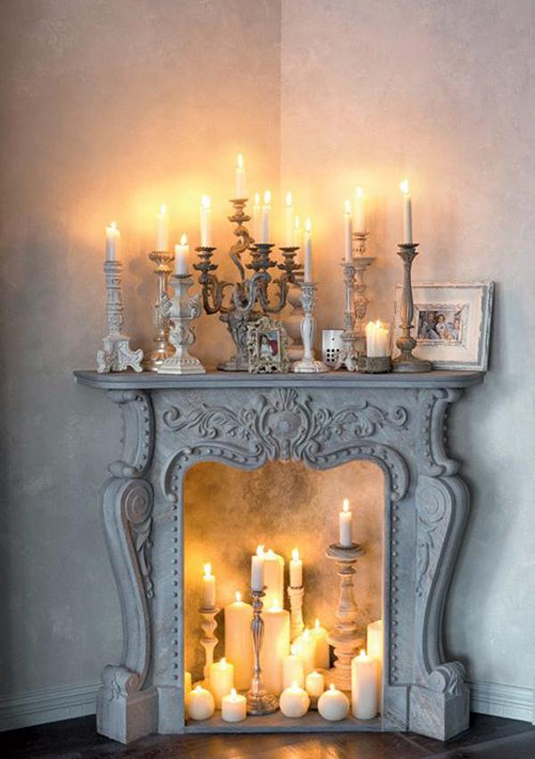 log candle fireplace screens