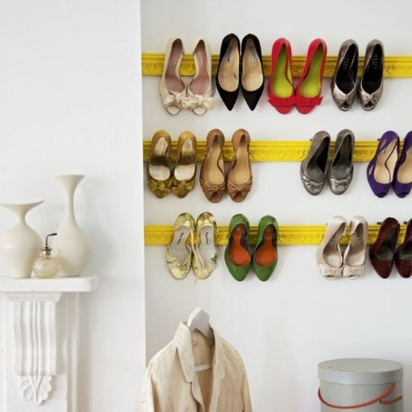 20 diy shoe storage solutions home design and interior for Diy wall shoe rack