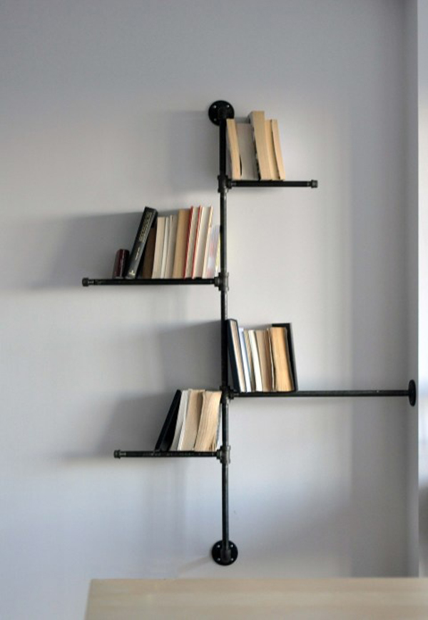 Industrialpipebookrack - Book rack designs for bedroom