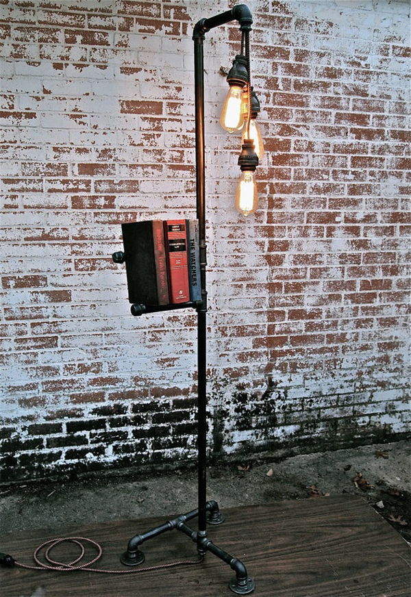 Industrial pipe floor lamps for Pipe lamp plans