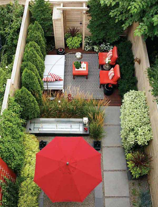 Modern tiny backyard design for Small backyard layout ideas