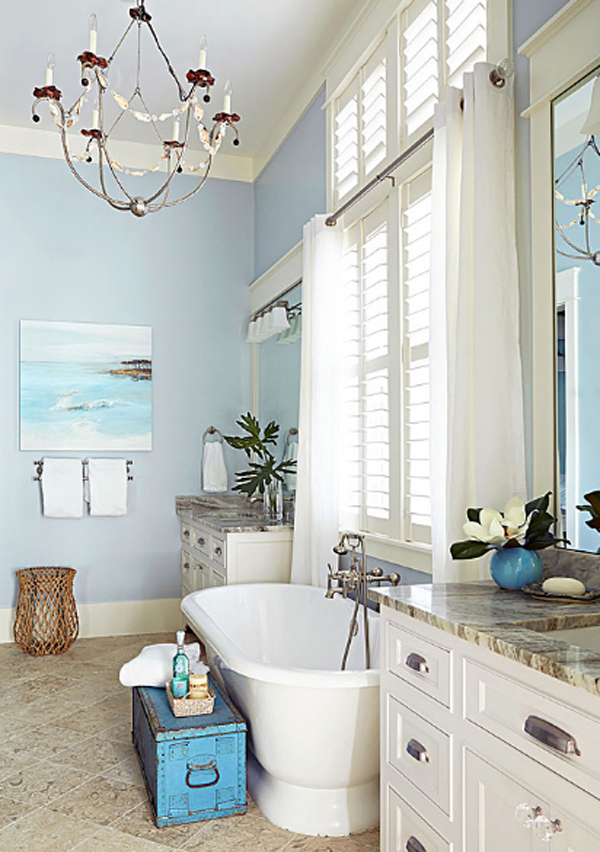 Spacious beach house with ocean painting home design and for Seaside bathroom design