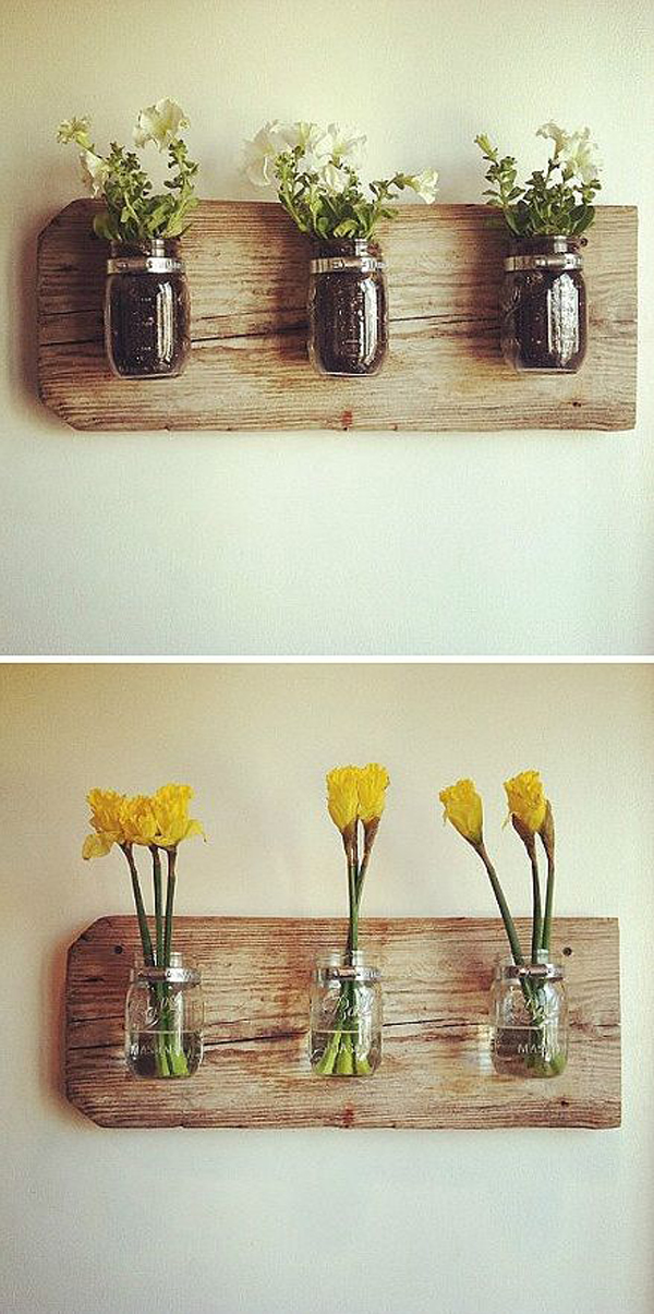Diy mason jars wall vases for Bathroom decor vases