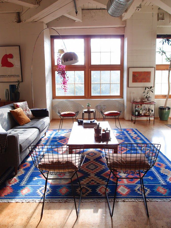 Electic Blue Kilim Rugs Living Room