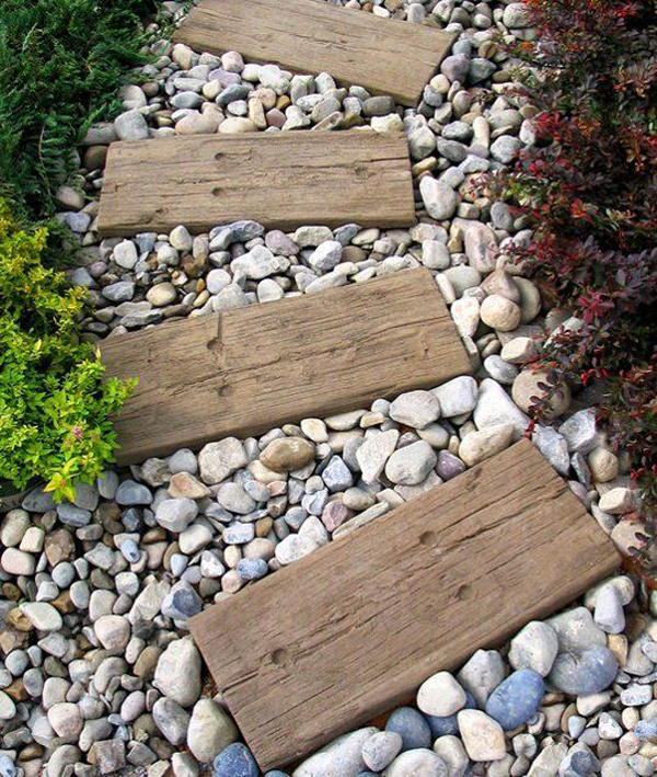 Diy Garden Path Ideas diy-garden-path-wood-and-stone
