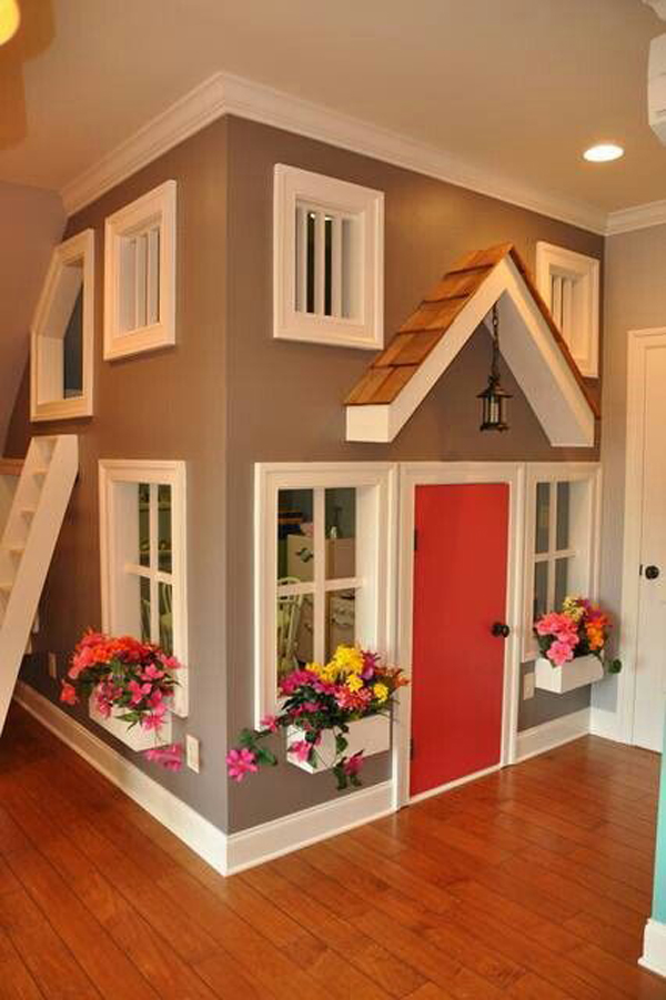 15 awesome indoor playhouses for kids home design and for Interior playhouse designs