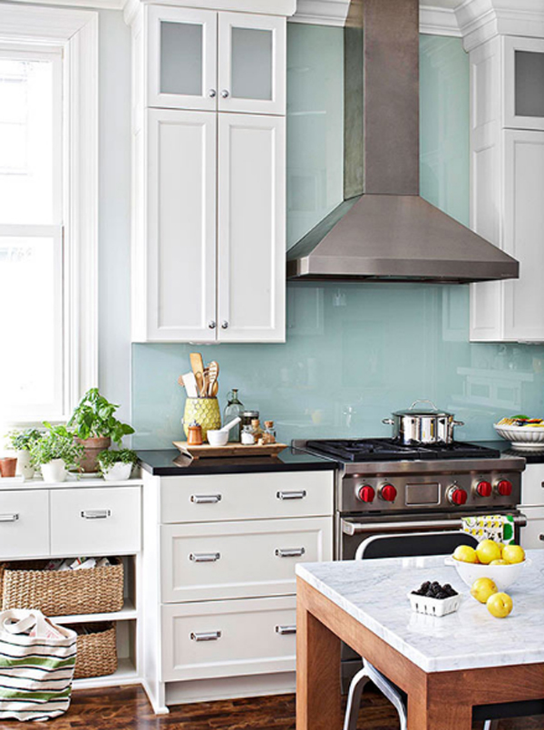 Blue mosaic kitchen backsplash - Simple kitchen tiles ...