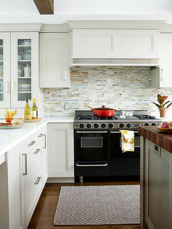modern-white-kitchen-glass-tile-backsplash | Home Design And ...