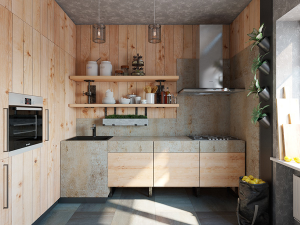 Natural wood kitchen with rustic design for Natural wood kitchen designs