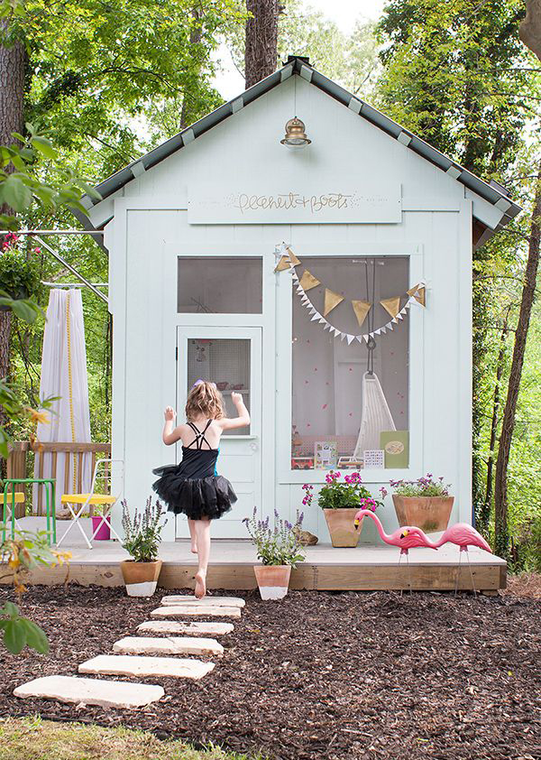 Outdoor kids playhouse design for Wooden playhouse designs
