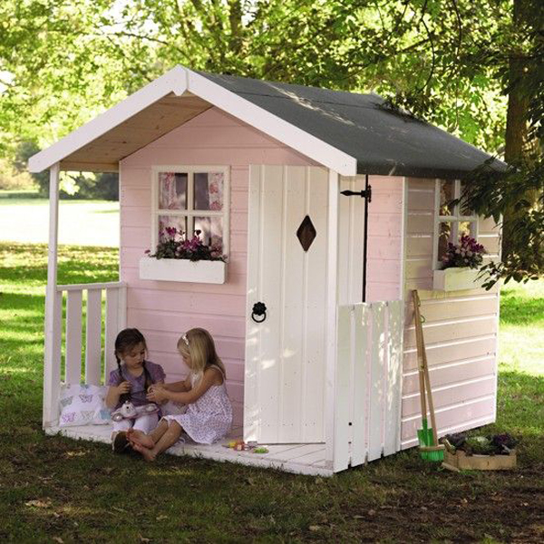 Pink and small outdoor playhouses for girls for Big kid playhouse