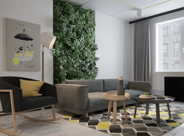 Small apartment with verdant vertical gardens