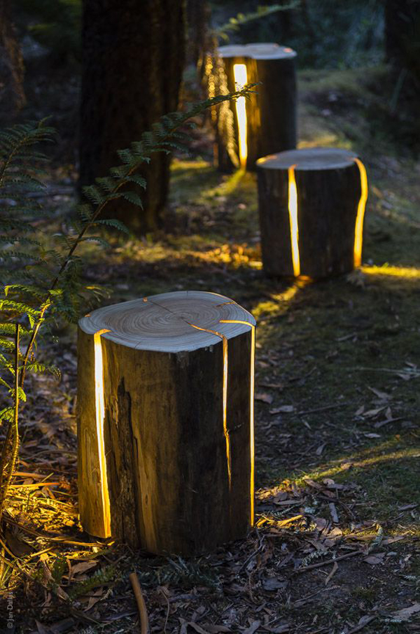 stump diy garden path lighting