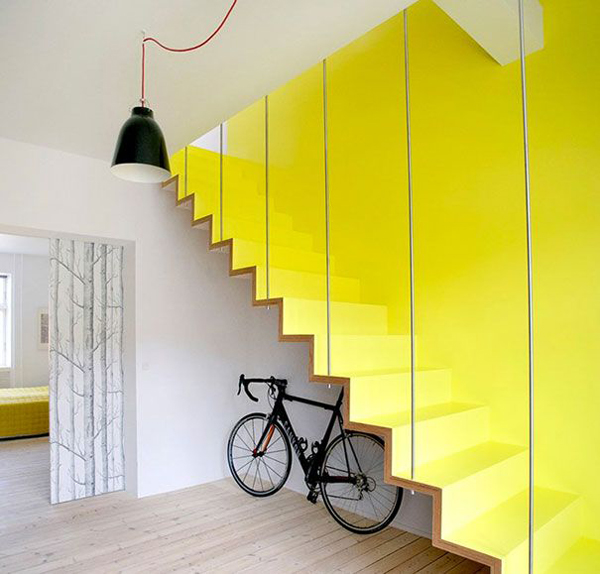 Unique And Creative Staircase Designs For Modern Homes: Unique-yellow-staircases-under-bike-storage