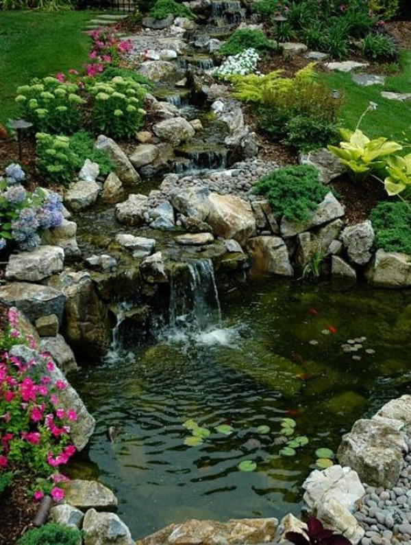 35 dreamy garden with backyard waterfall tips for Fish pond waterfall ideas