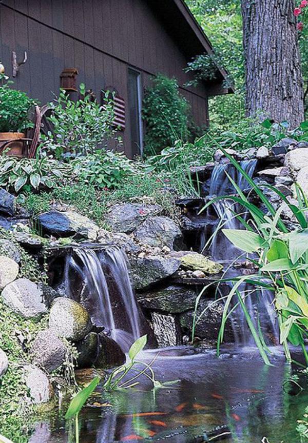 35 Dreamy Garden With Backyard Waterfall Ideas   HomeMydesign