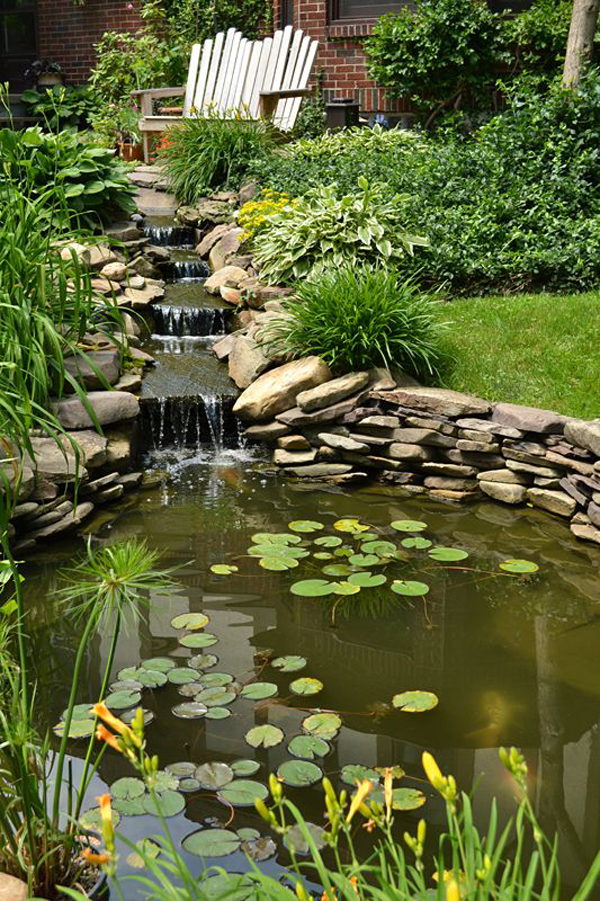 35 dreamy garden with backyard waterfall ideas home for Small waterfall garden designs
