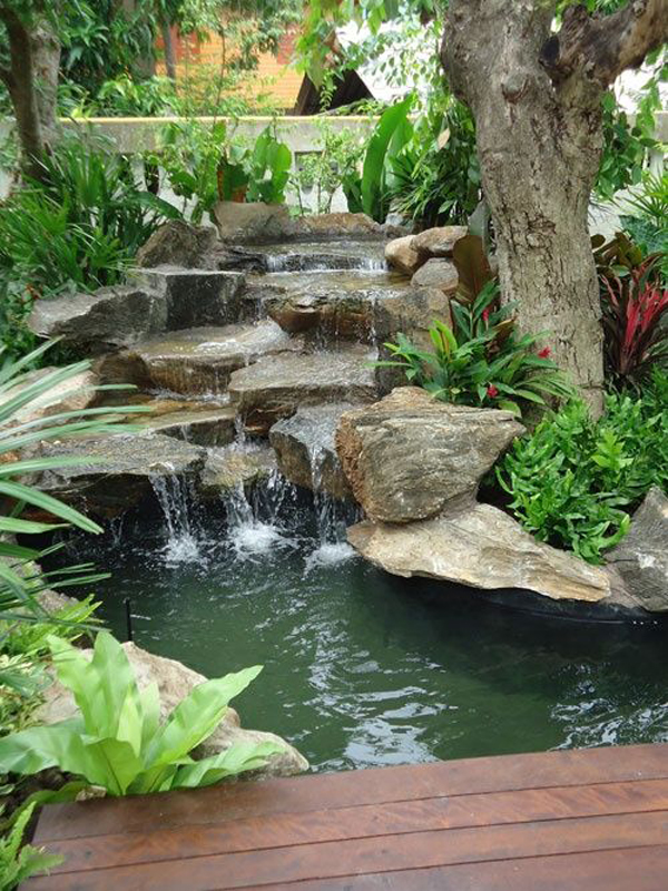 35 dreamy garden with backyard waterfall ideas home design and