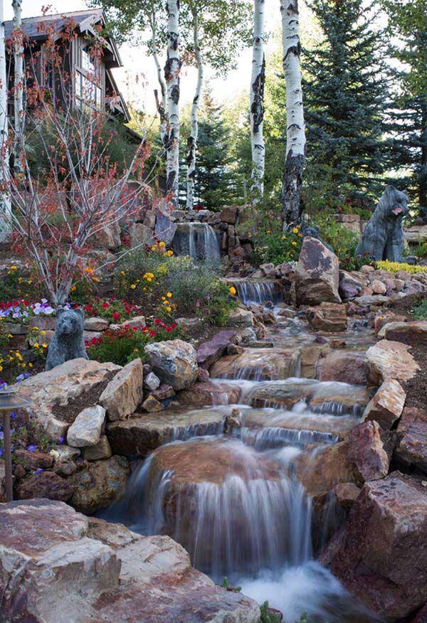 35 Dreamy Garden With Backyard Waterfall Ideas | HomeMydesign