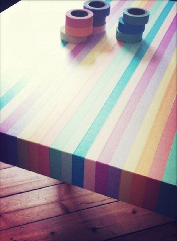 Colorful washi tape table designs - Cheap ways to decorate your home design ...