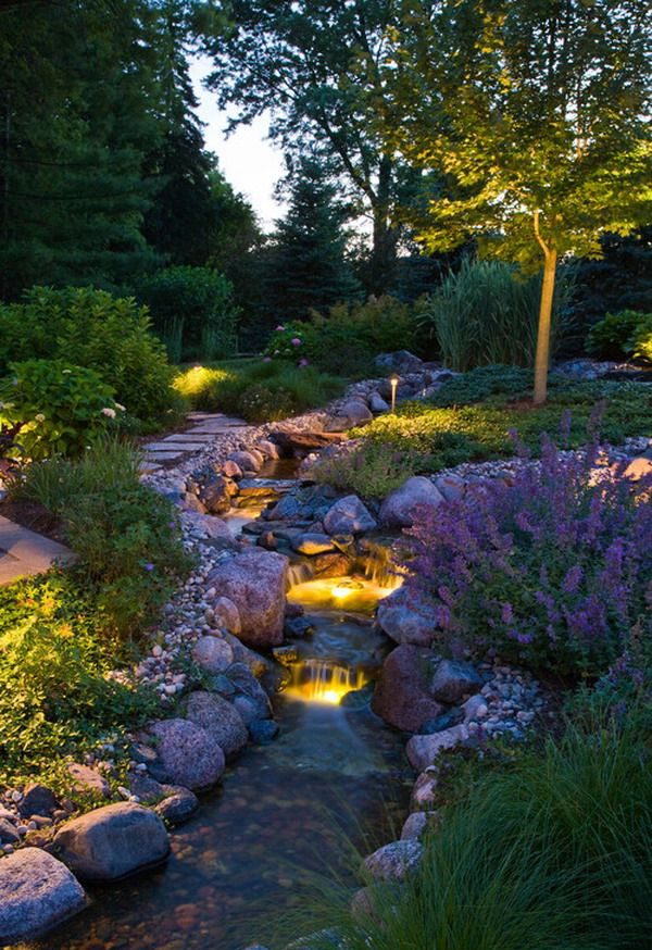 Contemporary Mini Waterfall With Garden Lights