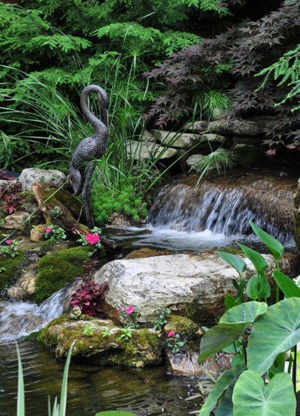 35 dreamy garden with backyard waterfall ideas home for Garden pond waterfall ideas