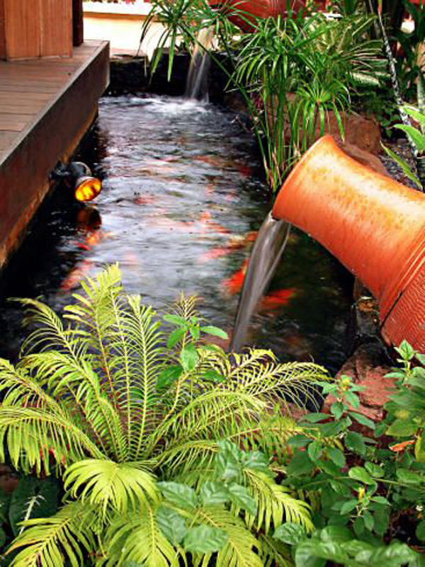 35 dreamy garden with backyard waterfall ideas home for Home koi pond