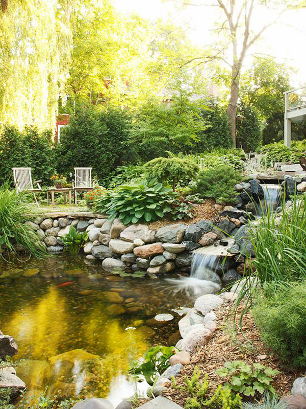 35 dreamy garden with backyard waterfall ideas home for Landscaping around koi pond