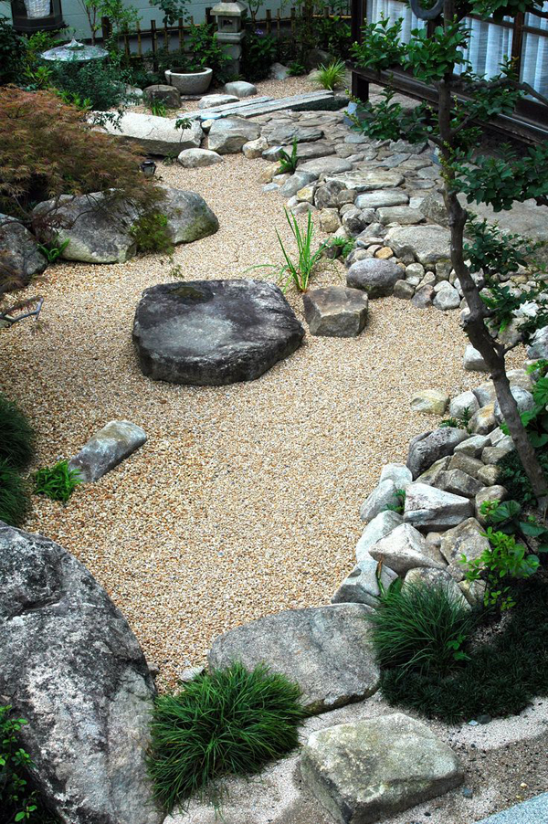 Japanese courtyard garden with stone and sand elements for Courtyard stone landscape