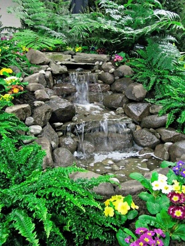 35 dreamy garden with backyard waterfall ideas home Garden waterfall designs