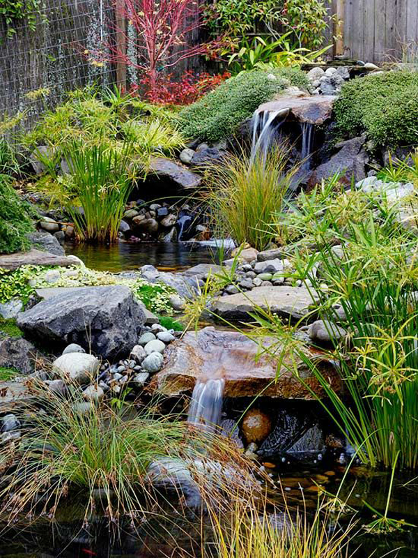 Outdoor Backyard Waterfall Design