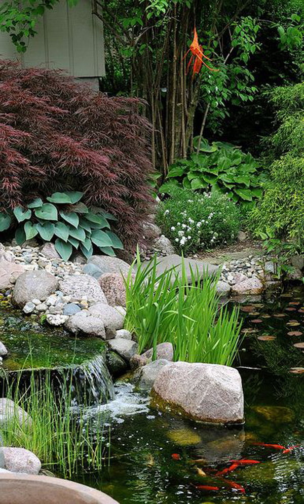 35 dreamy garden with backyard waterfall ideas home for Japanese garden pond design