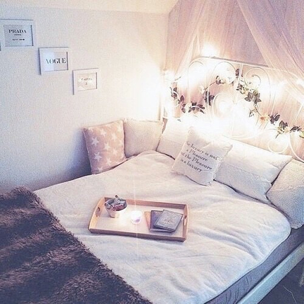 sweet girl bedroom with flower ornament