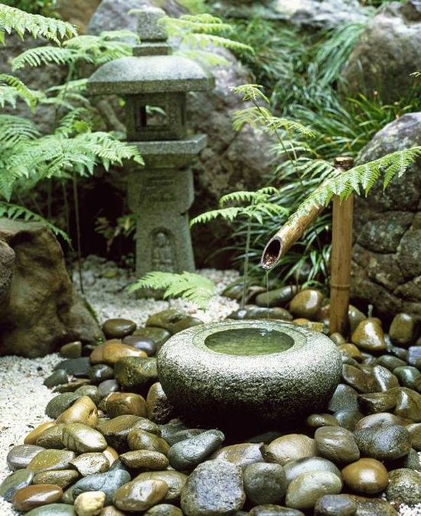 Traditional Japanese Courtyard With Water Fountain
