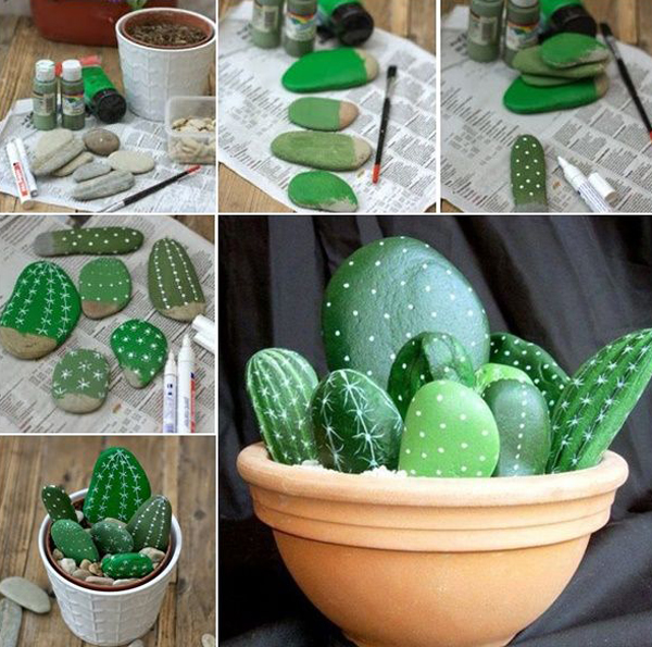 Diy cacti garden stone projects for Diy stone projects