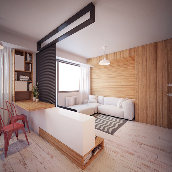 Two tiny apartment under 40 square meters by nikola for Living room 10 square meters