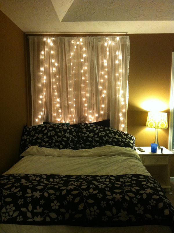 Bed Headboard Christmas: diy curtain bedroom headboard with lights,