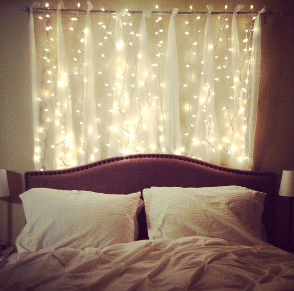 15 DIY Curtain Headboard With Christmas Lights | Home Design And ...