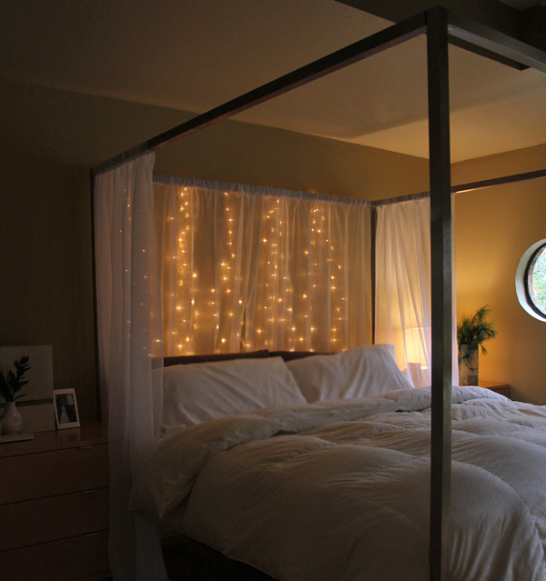 15 diy curtain headboard with christmas lights home for String lights for bedroom ikea