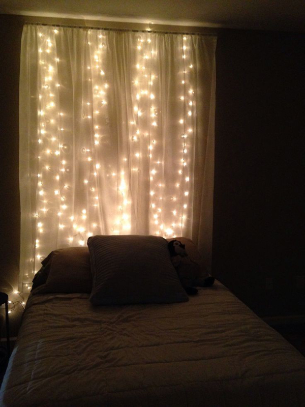 String Lights For Headboard : 15 DIY Curtain Headboard With Christmas Lights Home Design And Interior