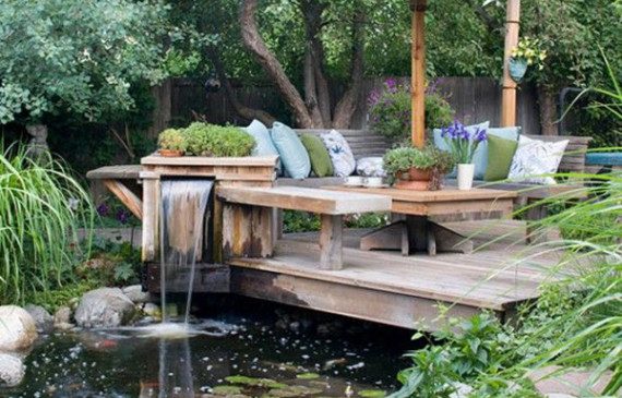 Garden ponds home design and interior for Deck pond ideas