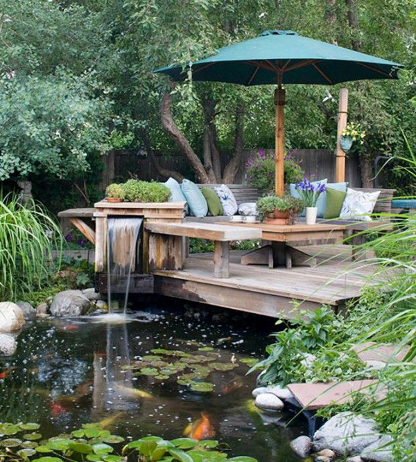 15 pretty garden pond with deck design home design and for Beautiful garden decking