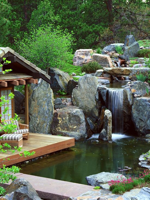 15 Pretty Garden Pond With Deck Design | HomeMydesign on Small Pond Waterfall Ideas id=19213