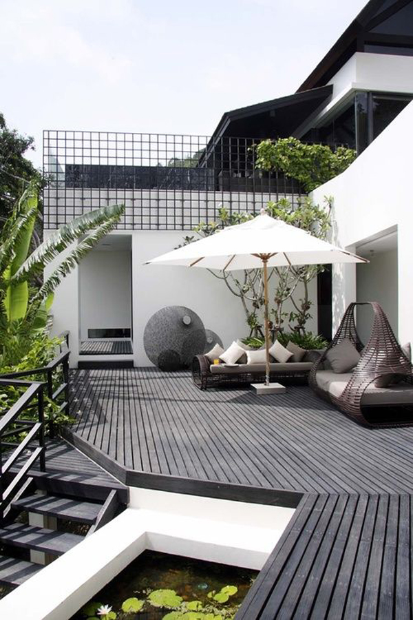Modern pond and deck design for Contemporary pond design