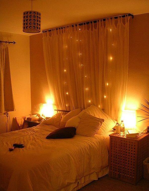 Bed Headboard Christmas: 15 DIY Curtain Headboard With Christmas Lights   Home Design And    ,