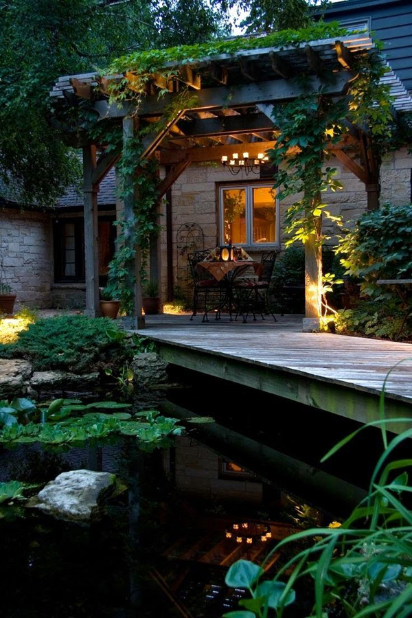 Romantic garden pond and deck for Garden decking with pond