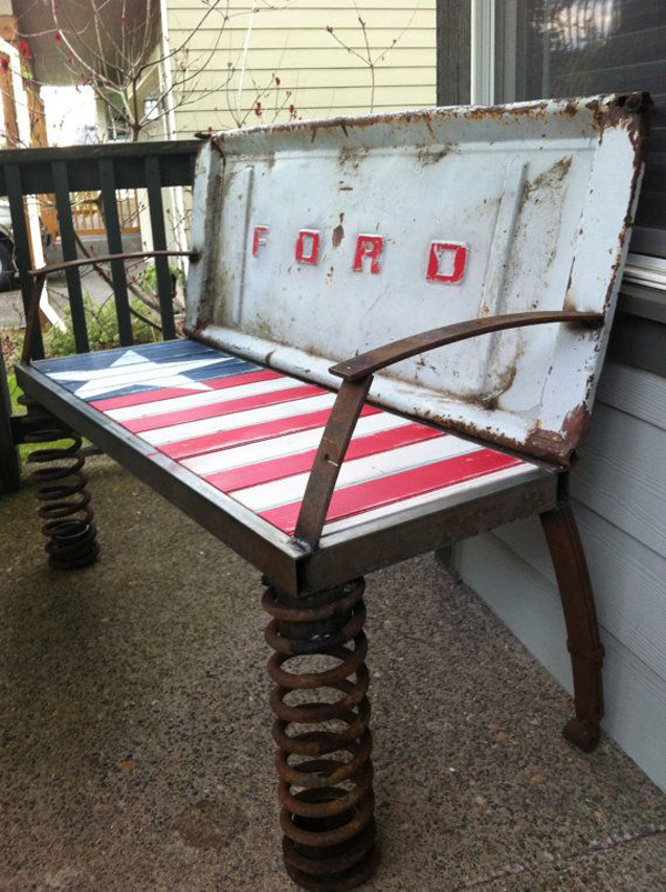 Rusty old car parts patriotic bench for Recycled car parts furniture